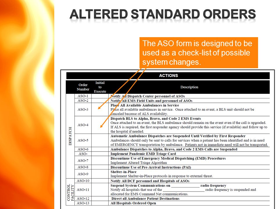 www.disasterdoug.com The ASO form is designed to be used as a check-list of possible system changes.
