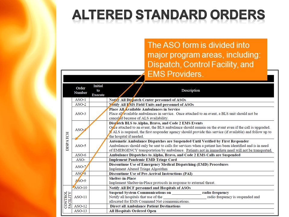www.disasterdoug.com The ASO form is divided into major program areas, including: Dispatch, Control Facility, and EMS Providers.