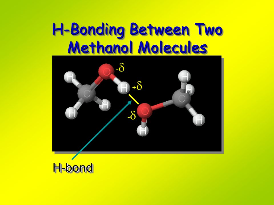 H-Bonding Between Two Methanol Molecules H-bondH-bond ---- ++++ ----