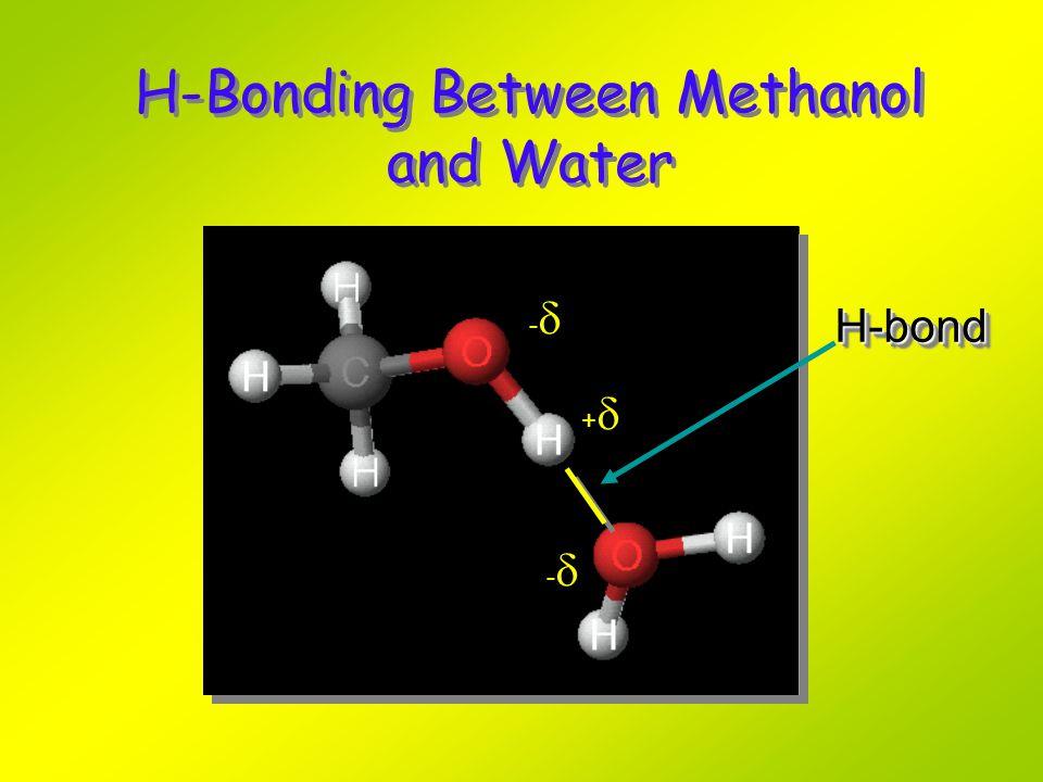 H-Bonding Between Methanol and Water H-bondH-bond ---- ++++ ----