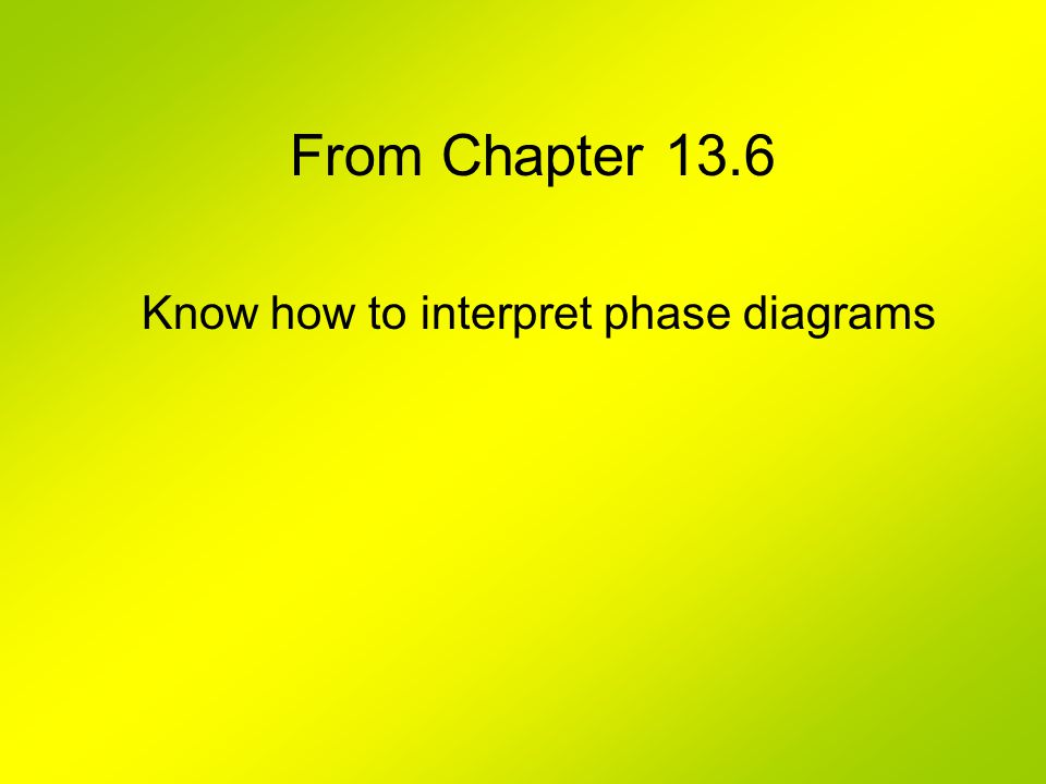 From Chapter 13.6 Know how to interpret phase diagrams