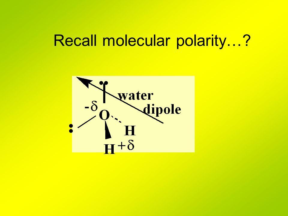 Recall molecular polarity…