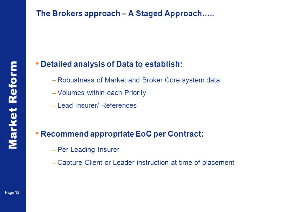 Market Reform Page 14 Write to Lead Insurers/ Reinsurers at CEO level –Outline Review process undertaken –Consideration given to lead or Client instruction –Attach bordereau containing –Lead Insurer Reference and Signed line –Recommended EoC per contract –Request approval from CEO to action recommended EoC –Time frame stated for response (4 working weeks) Upon agreement of the above, request Underwriters to purge bureaux data base.