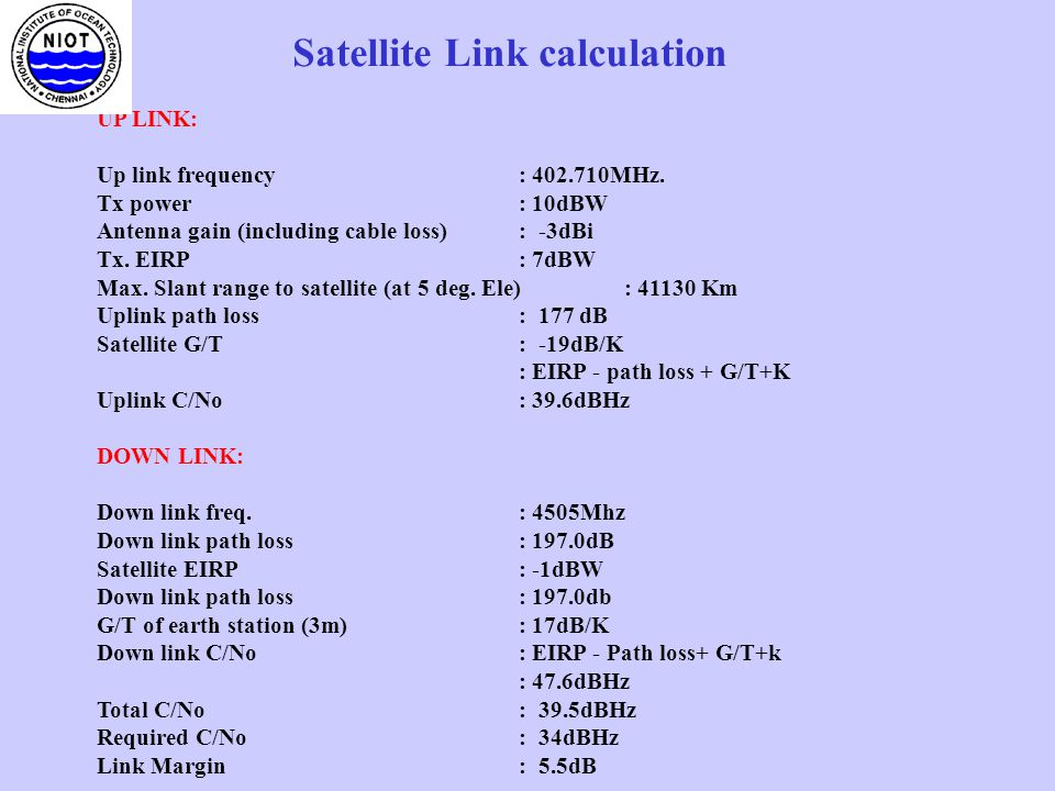 UHF TRANSMITTER (10W) DATA COLLECTION FROM DATA BUOY THROUGH INSAT UHF(402MHz ) Data Acquisition (CPU) GPS Data from Sensors LNA RF D/C BURST DEMOD (BPSK) 70MHz IF300b/s C-BAND(4.5GHz) To data processing system of NIOT 3.8m INSAT