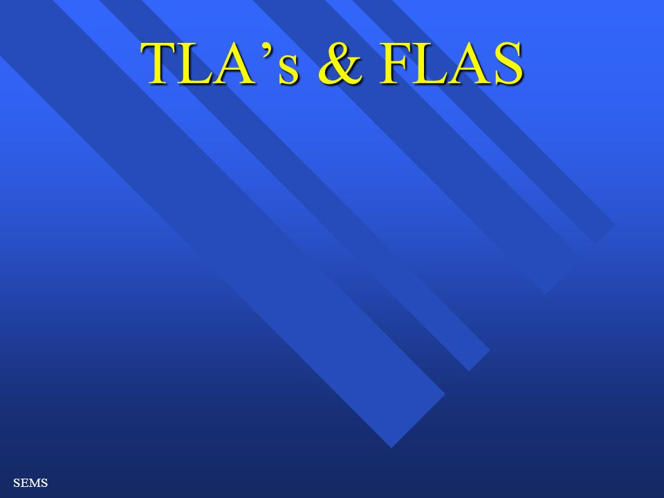 SEMS TLA's & FLAS