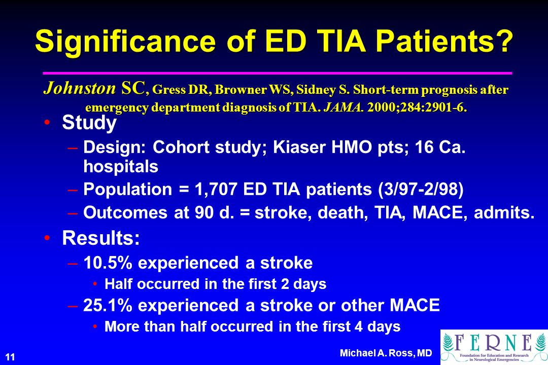 11 Michael A. Ross, MD Significance of ED TIA Patients.