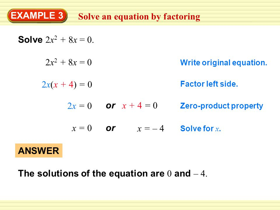 EXAMPLE 3 Solve an equation by factoring Solve 2x 2 + 8x = 0.