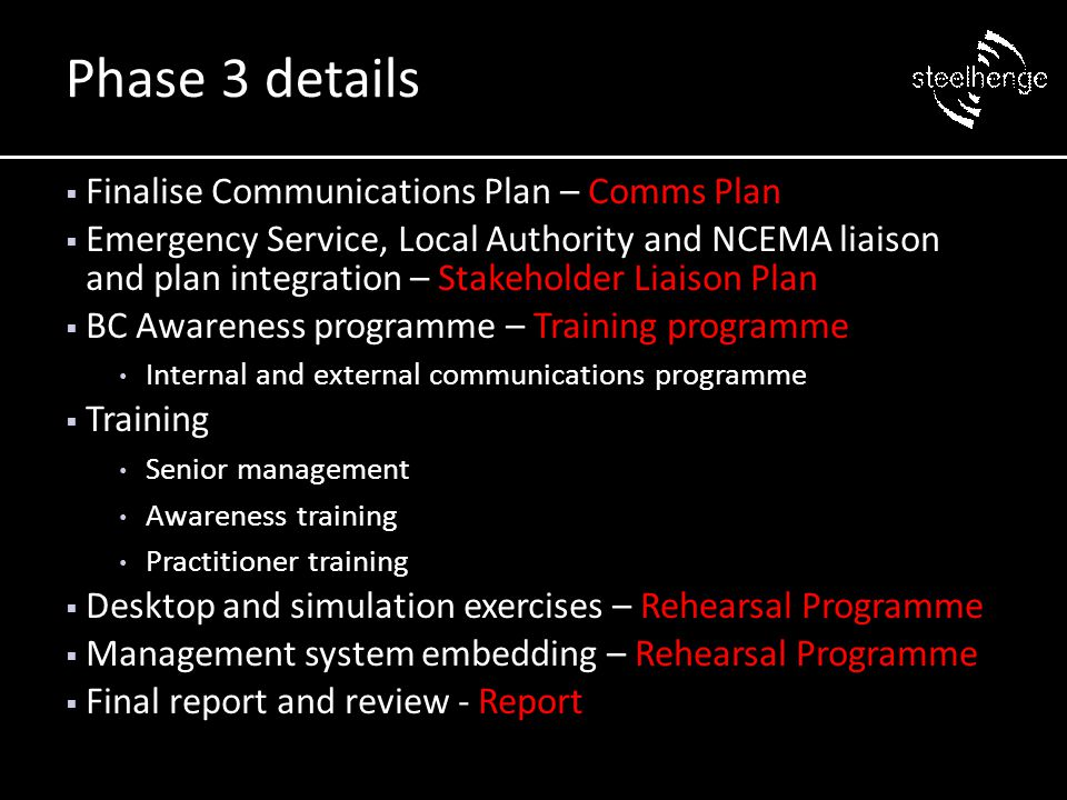 Finalise Communications Plan – Comms Plan  Emergency Service, Local Authority and NCEMA liaison and plan integration – Stakeholder Liaison Plan  B