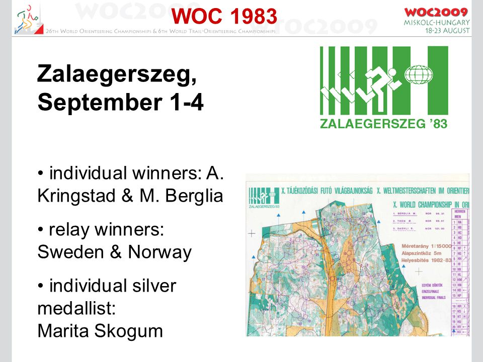 WOC 1983 Zalaegerszeg, September 1-4 individual winners: A.
