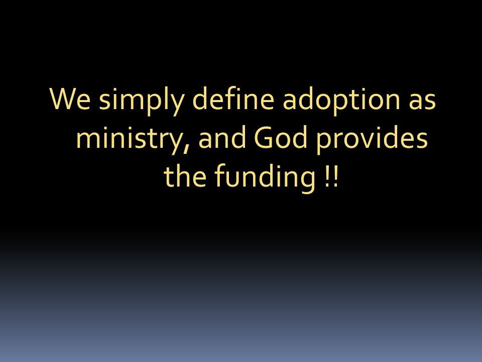 We simply define adoption as ministry, and God provides the funding !!