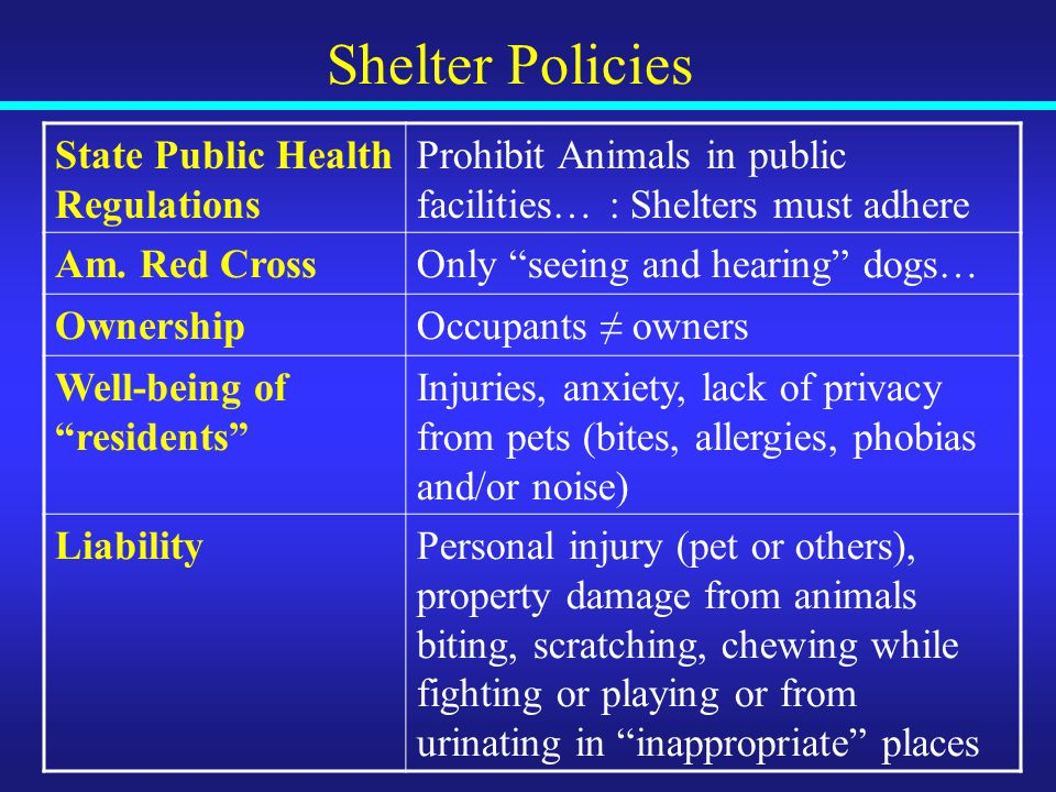 Shelter Policies State Public Health Regulations Prohibit Animals in public facilities… : Shelters must adhere Am.