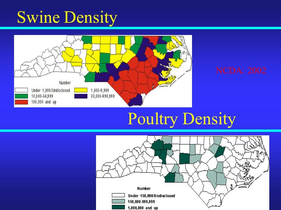 Swine Density Poultry Density NCDA: 2002
