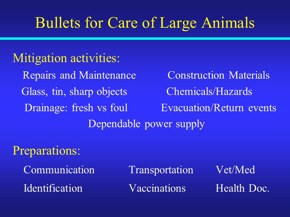 Bullets for Care of Large Animals Mitigation activities: Repairs and MaintenanceConstruction Materials Glass, tin, sharp objects Chemicals/Hazards Drainage: fresh vs foul Evacuation/Return events Dependable power supply Preparations: CommunicationTransportation Vet/Med IdentificationVaccinationsHealth Doc.