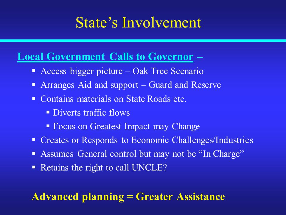 State's Involvement Local Government Calls to Governor –  Access bigger picture – Oak Tree Scenario  Arranges Aid and support – Guard and Reserve  Contains materials on State Roads etc.