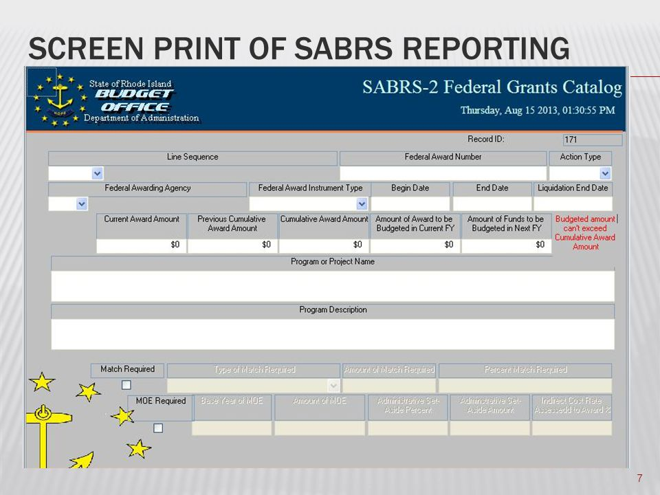 SCREEN PRINT OF SABRS REPORTING 7