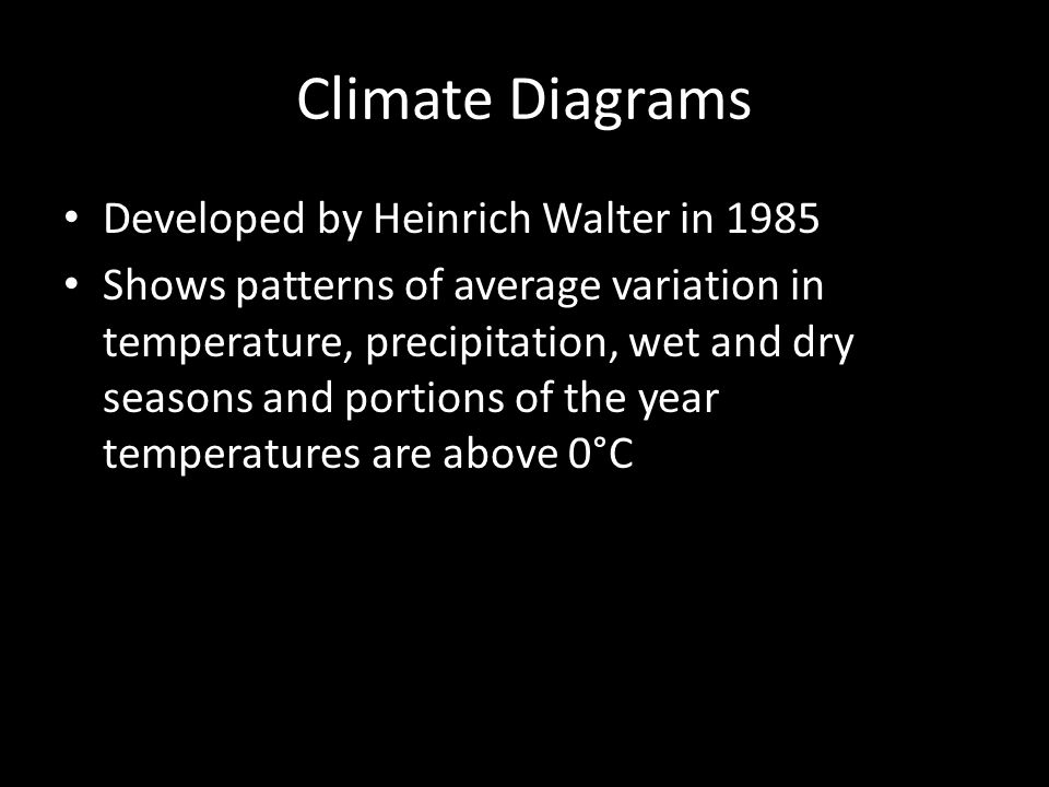 Climate Diagrams Developed by Heinrich Walter in 1985 Shows patterns of average variation in temperature, precipitation, wet and dry seasons and portions of the year temperatures are above 0°C
