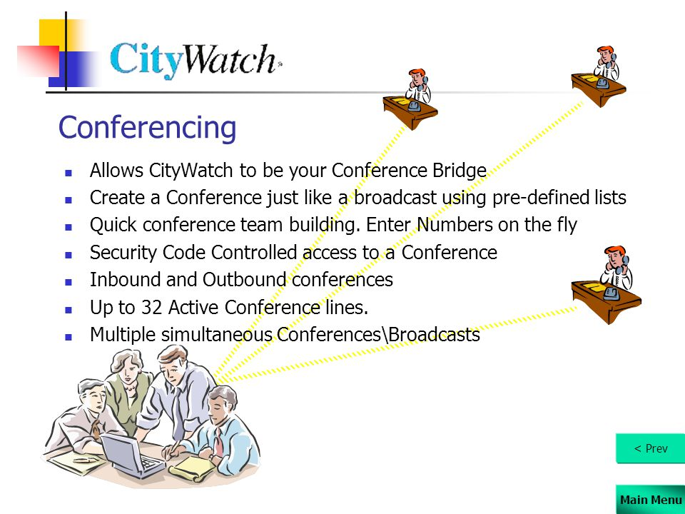 Main Menu Conferencing Allows CityWatch to be your Conference Bridge Create a Conference just like a broadcast using pre-defined lists Quick conferenc