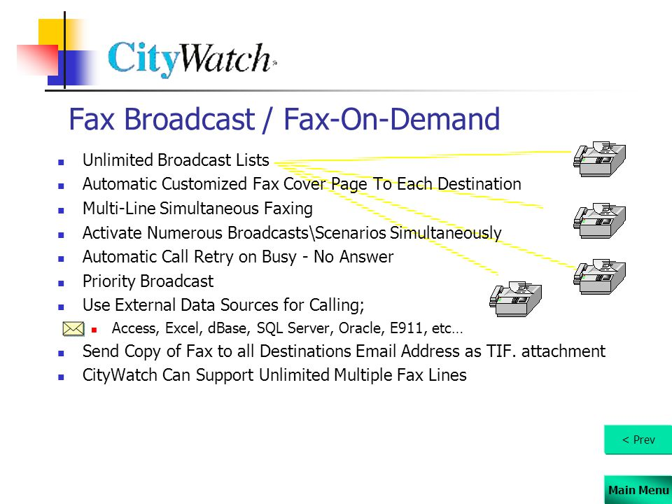 Main Menu Fax Broadcast / Fax-On-Demand Unlimited Broadcast Lists Automatic Customized Fax Cover Page To Each Destination Multi-Line Simultaneous Faxi