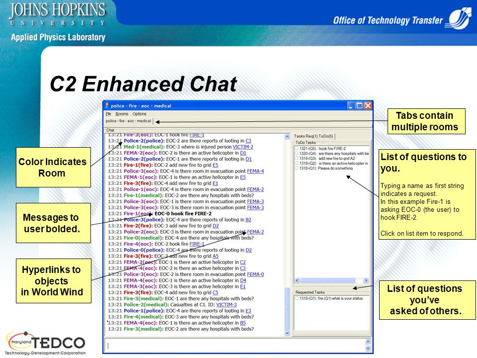 C2 Enhanced Chat Tabs contain multiple rooms List of questions you've asked of others..