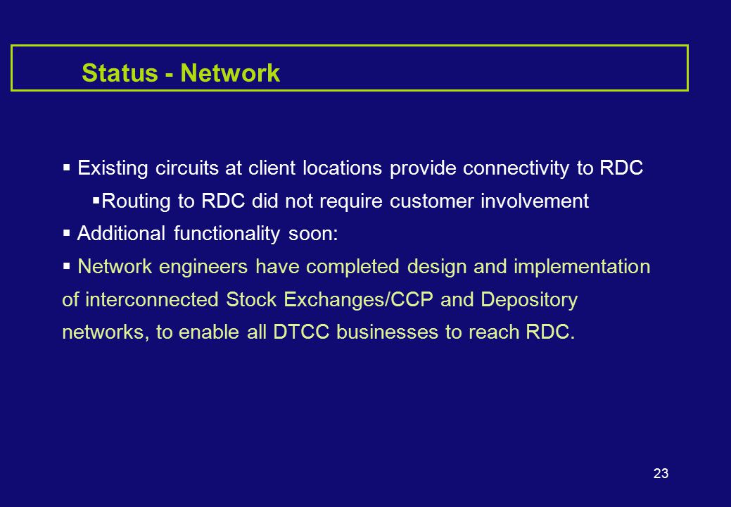 23 Status - Network  Existing circuits at client locations provide connectivity to RDC  Routing to RDC did not require customer involvement  Additional functionality soon:  Network engineers have completed design and implementation of interconnected Stock Exchanges/CCP and Depository networks, to enable all DTCC businesses to reach RDC.