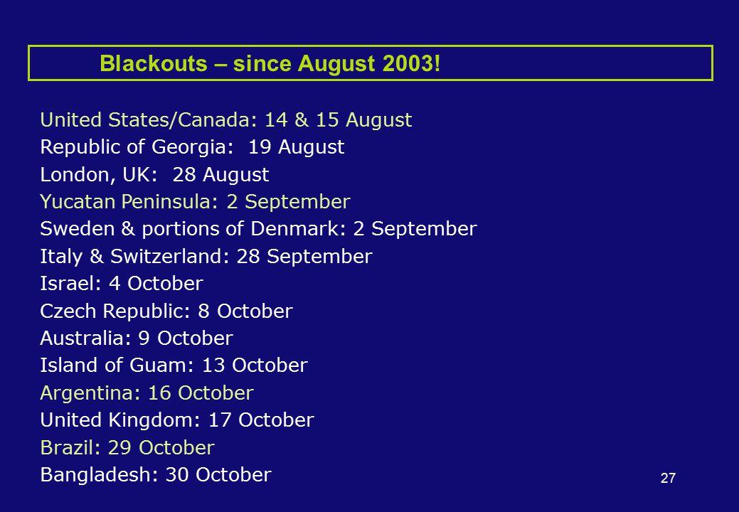 27 Blackouts – since August 2003.
