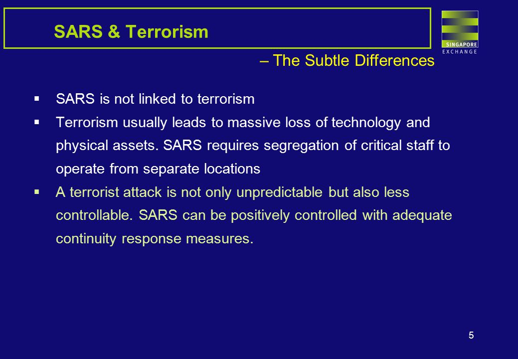 5 SARS & Terrorism – The Subtle Differences  SARS is not linked to terrorism  Terrorism usually leads to massive loss of technology and physical assets.