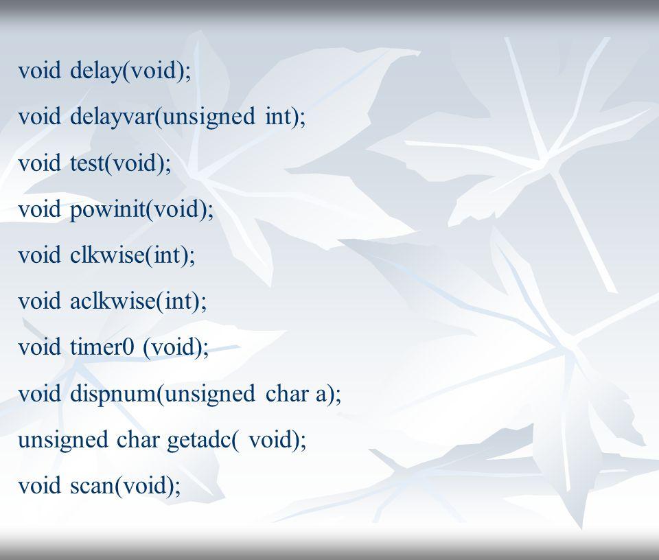 void delay(void); void delayvar(unsigned int); void test(void); void powinit(void); void clkwise(int); void aclkwise(int); void timer0 (void); void dispnum(unsigned char a); unsigned char getadc( void); void scan(void);