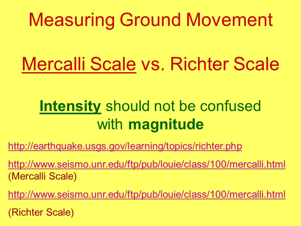 Measuring Ground Movement Mercalli Scale vs.