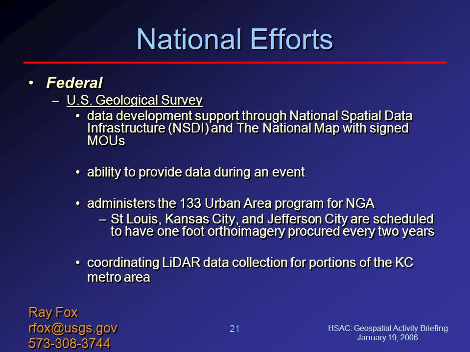 HSAC: Geospatial Activity Briefing January 19, 2006 21 National Efforts Federal –U.S.