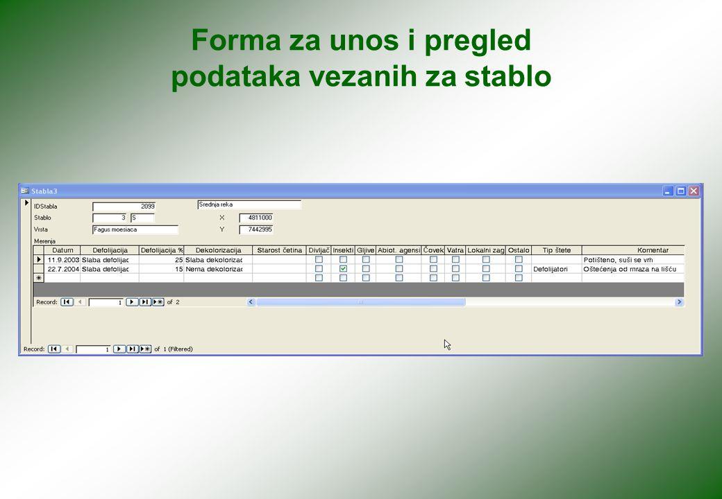 Forma za unos i pregled podataka vezanih za stablo