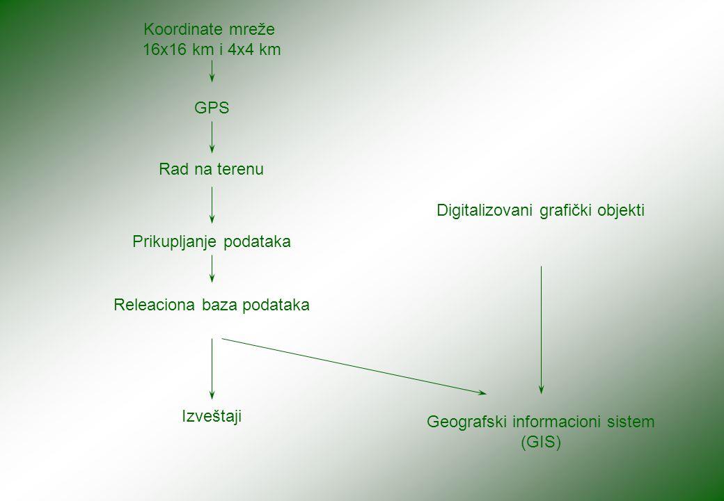 Koordinate mreže 16x16 km i 4x4 km GPS Rad na terenu Prikupljanje podataka Releaciona baza podataka Izveštaji Digitalizovani grafički objekti Geografski informacioni sistem (GIS)