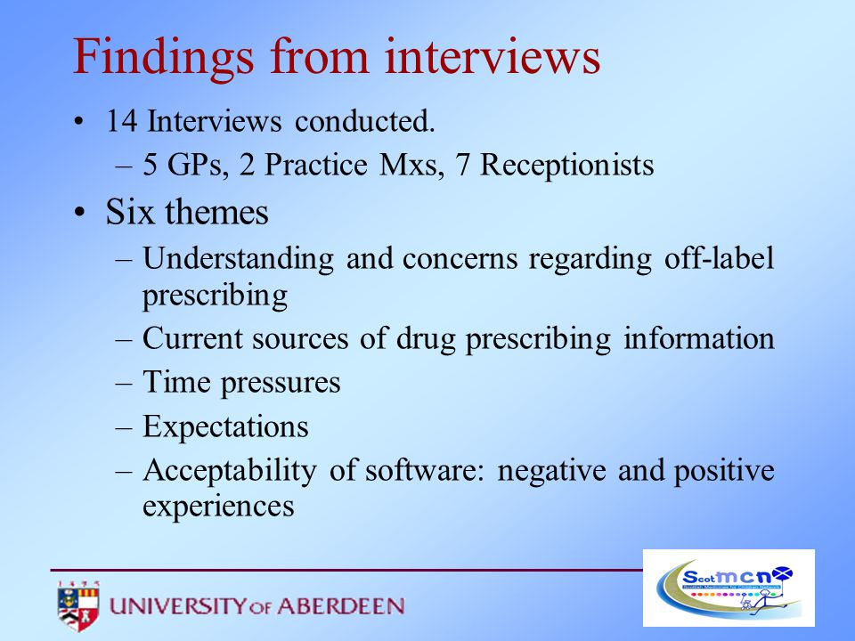Findings from interviews 14 Interviews conducted.