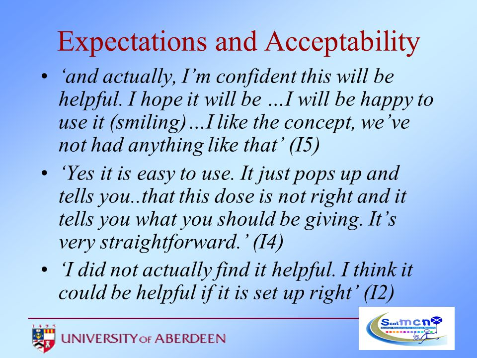 Expectations and Acceptability 'and actually, I'm confident this will be helpful.