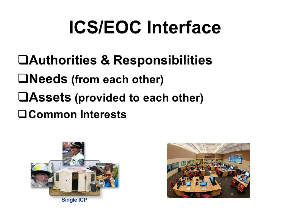 ICS/EOC Interface  Authorities & Responsibilities  Needs (from each other)  Assets (provided to each other)  Common Interests