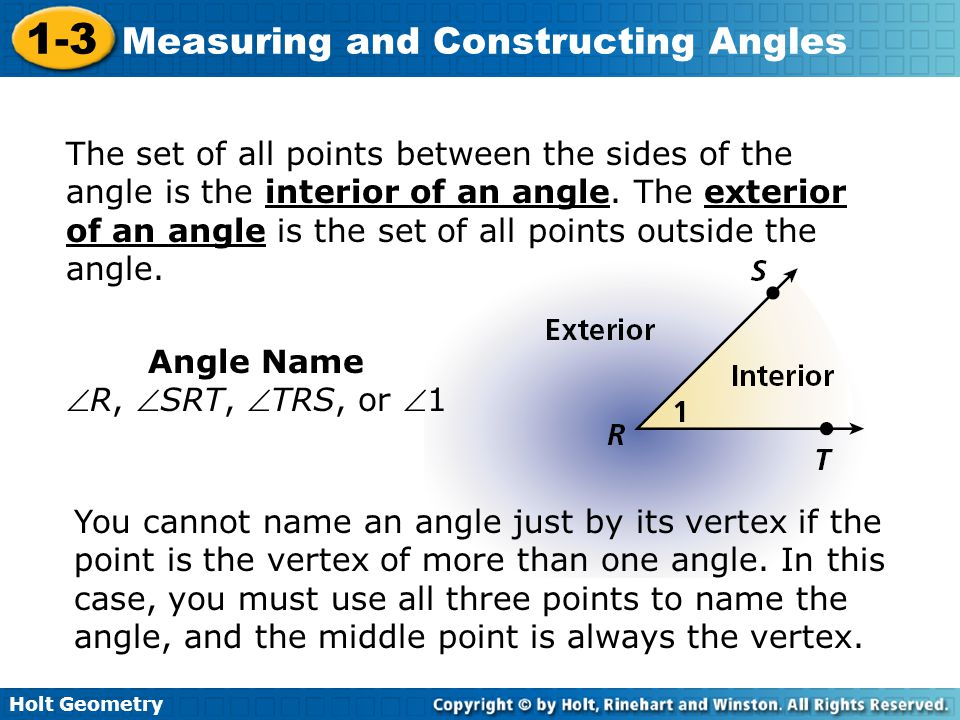 Holt Geometry 1-3 Measuring and Constructing Angles Lesson Quiz: Part II 5.