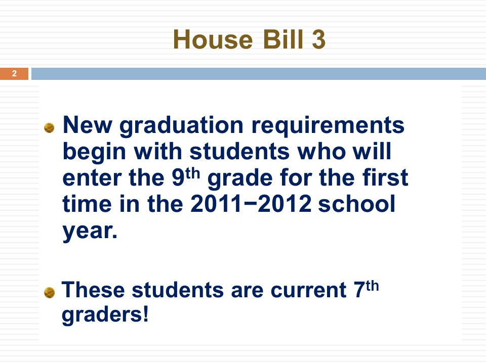 House Bill 3 2 New graduation requirements begin with students who will enter the 9 th grade for the first time in the 2011−2012 school year.