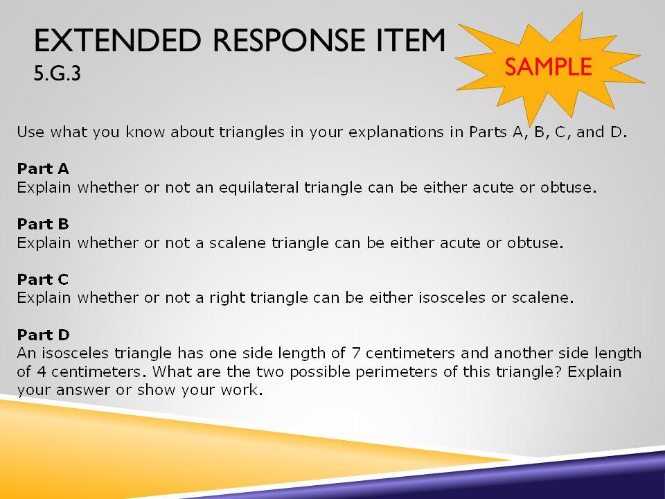 EXTENDED RESPONSE ITEM 5.G.3 SAMPLE