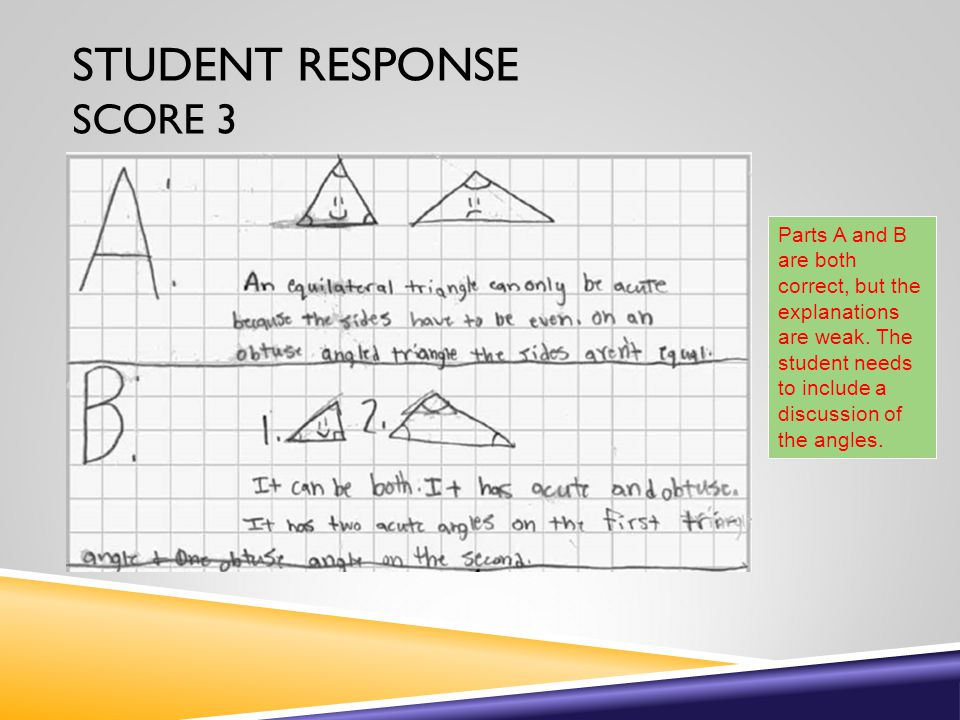 STUDENT RESPONSE SCORE 3 Parts A and B are both correct, but the explanations are weak.