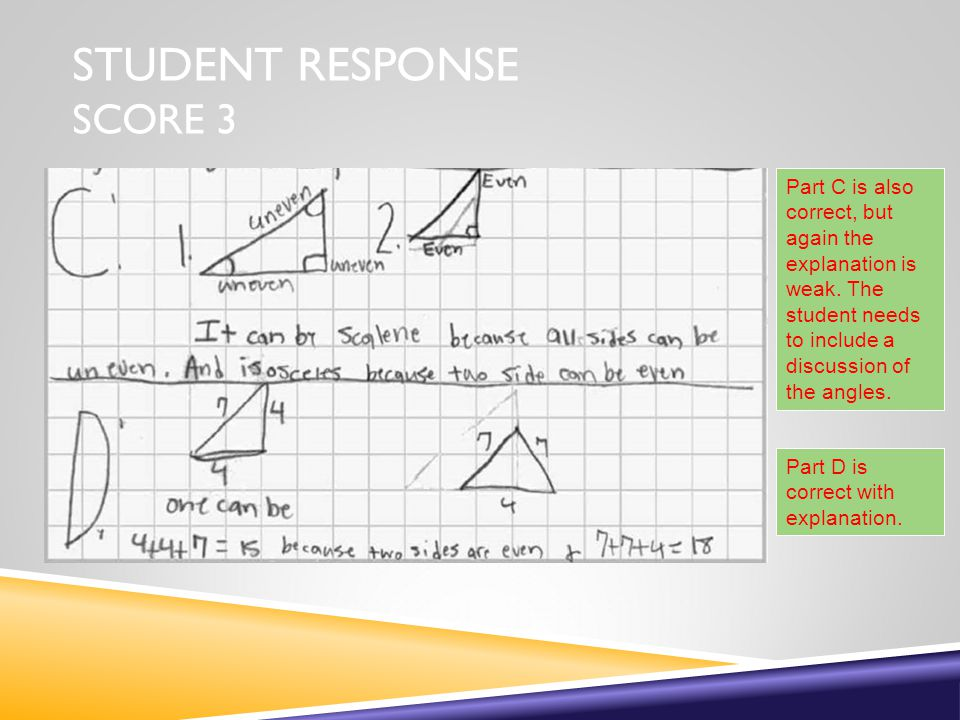 STUDENT RESPONSE SCORE 3 Part D is correct with explanation.