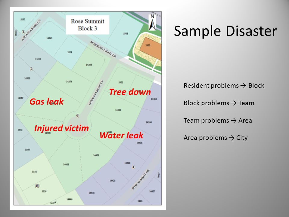 Resident problems → Block Block problems → Team Team problems → Area Area problems → City Gas leak Injured victim Water leak Tree down Sample Disaster