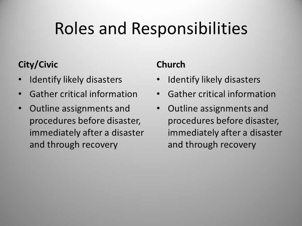 Roles and Responsibilities City/Civic Identify likely disasters Gather critical information Outline assignments and procedures before disaster, immediately after a disaster and through recovery Church Identify likely disasters Gather critical information Outline assignments and procedures before disaster, immediately after a disaster and through recovery