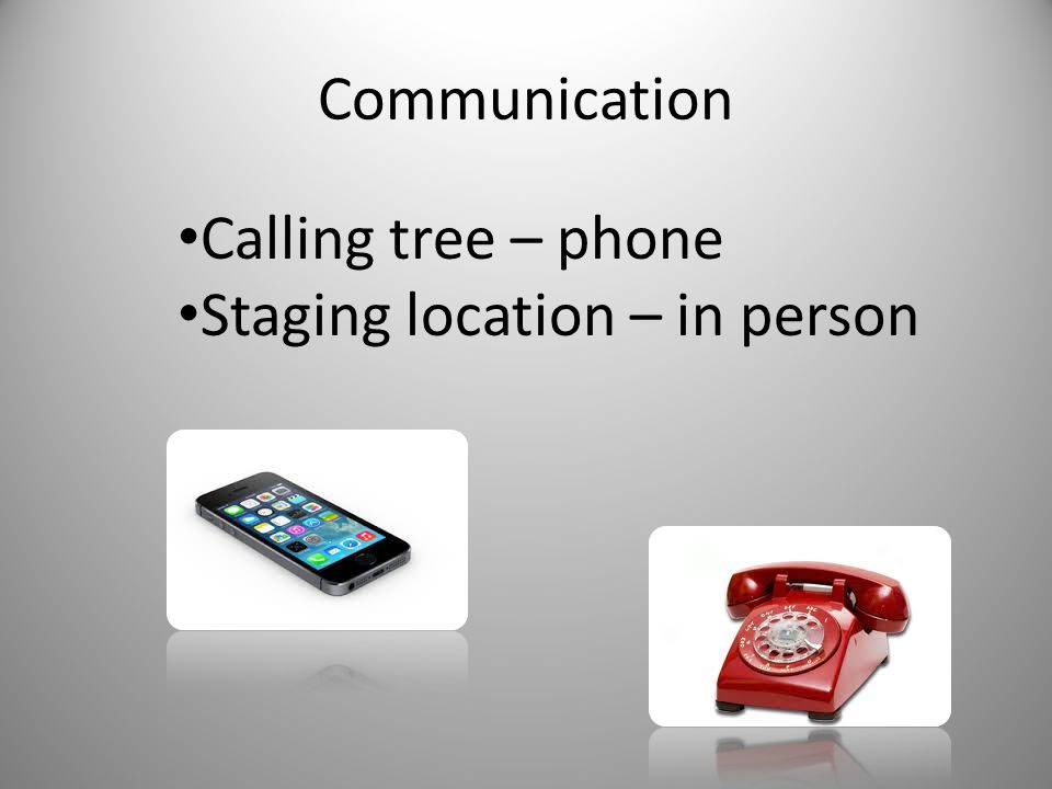 Communication Calling tree – phone Staging location – in person