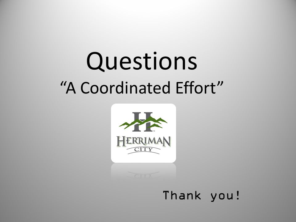 Questions A Coordinated Effort Thank you!