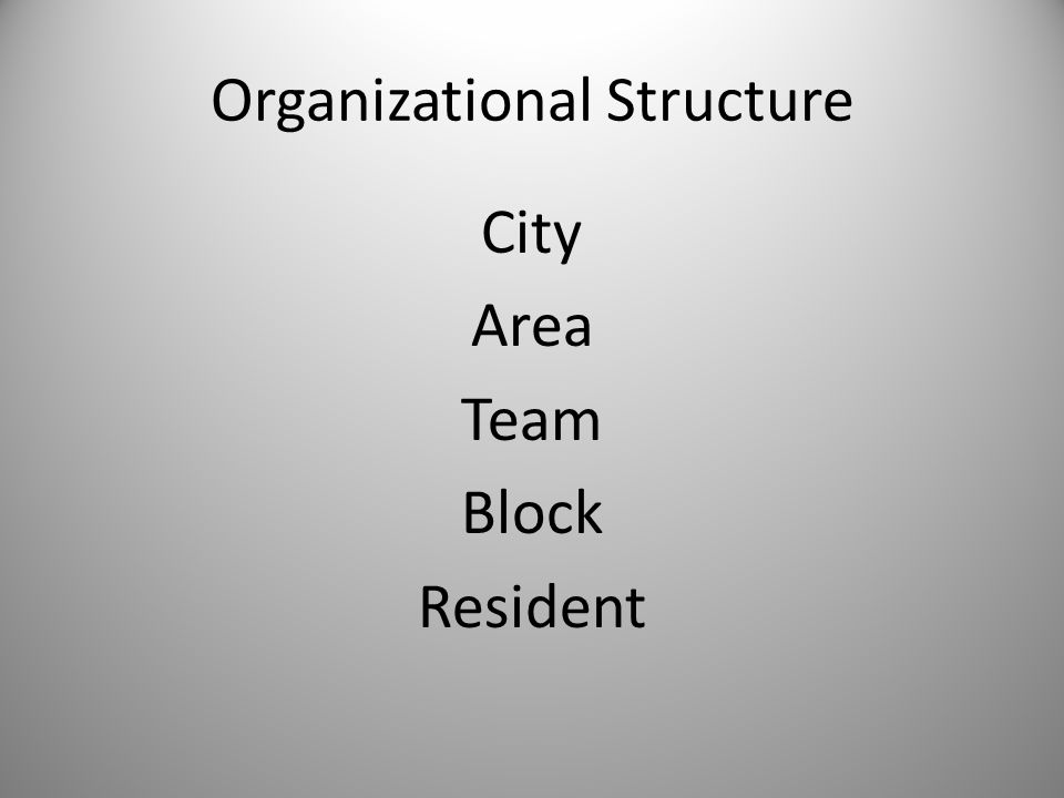 Organizational Structure City Area Team Block Resident