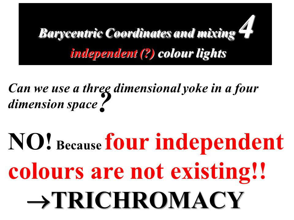 Barycentric Coordinates and mixing 4 independent ( ) colour lights Can we use a three dimensional yoke in a four dimension space NO.