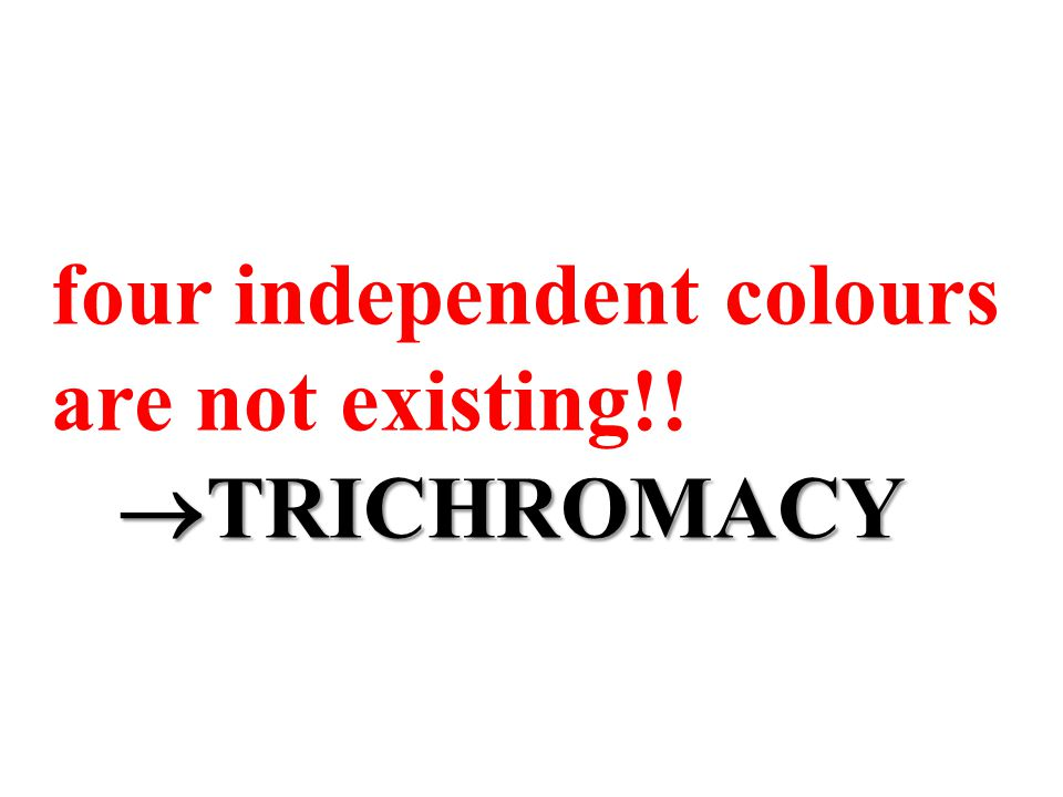 four independent colours are not existing!!  TRICHROMACY