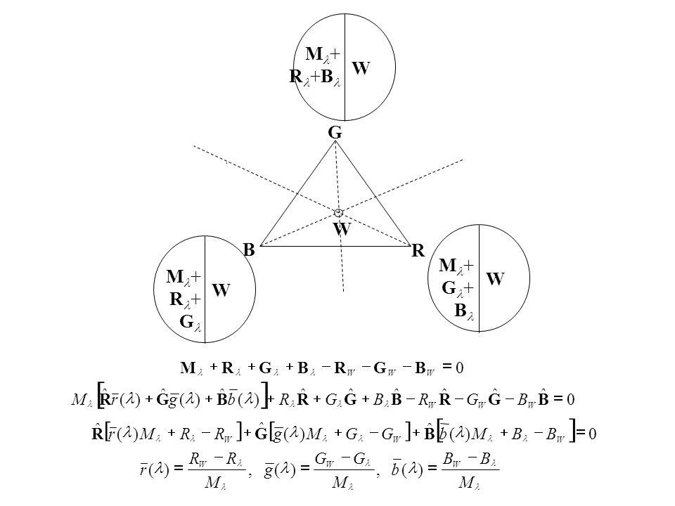 W M + R +B R B G W W M + G + B W M + R + G 0  WWW BGRBGRM  0 ˆ ˆ ˆˆ ˆ ˆ )( ˆ )( ˆ )( ˆ  BGRBGRBGR WWW BGRBGRbgrM   0)( ˆ )( ˆ )( ˆ  WWW BBMbGGMgRRMr BGR M BB b M GG g M RR r WWW       )(,)(,)(