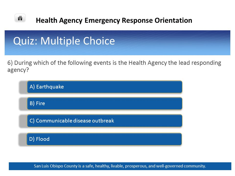 Health Agency Emergency Response Orientation Back