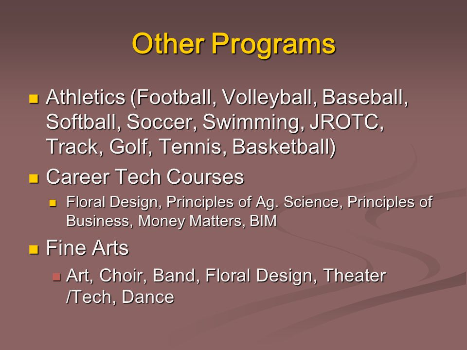 Other Programs Athletics (Football, Volleyball, Baseball, Softball, Soccer, Swimming, JROTC, Track, Golf, Tennis, Basketball) Athletics (Football, Vol