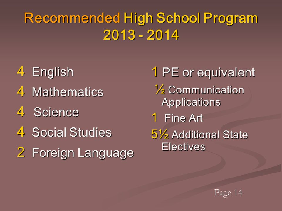 Recommended High School Program 2013 - 2014 4 English 4 Mathematics 4 Science 4 Social Studies 2 Foreign Language 1 PE or equivalent ½ Communication A